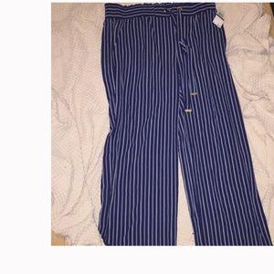 New Michael Kor Striped Navy Blue Palazzo Pants